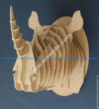Rhinoceros Head 3D Puzzle