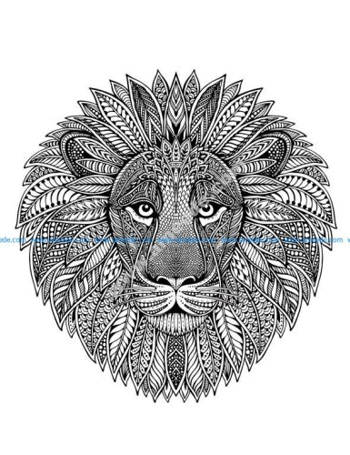 Tete de lion en mandala