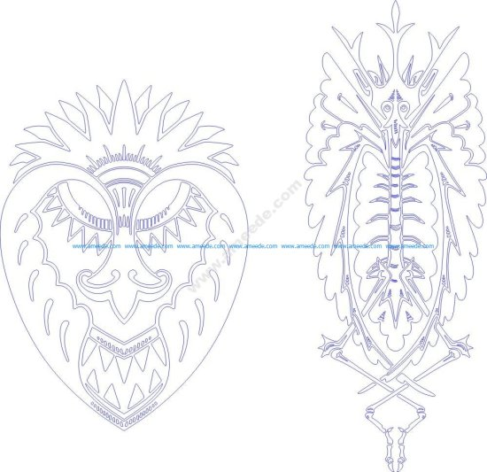 Two designs of grotesque animals
