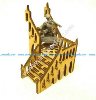 L-shaped staircase 8x8x8 cm for 3mm laser cut