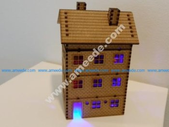LED lighted lasercut multi storey brick house