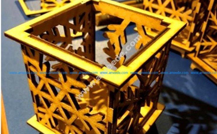 Laser Cut Snowflake Votive Holder
