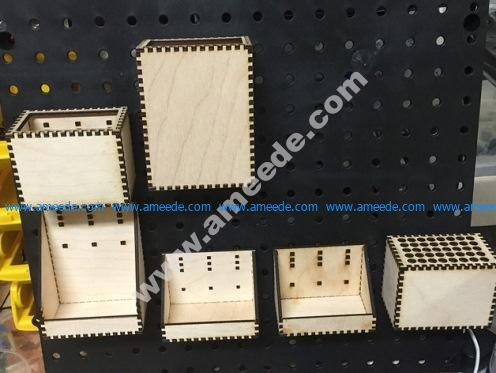 Lasercut Pegboard Boxes and Bins