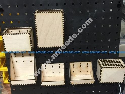 Lasercut Pegboard Boxes and Bins