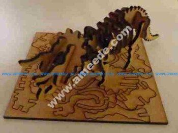 Lasercut triceratops skeleton puzzle