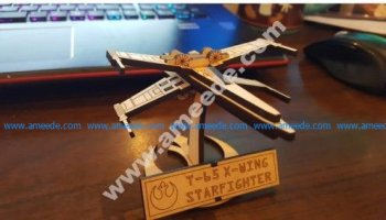 Small X-Wing Fighter with Stand Lasercut