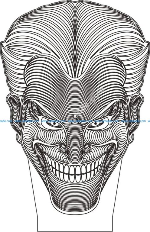 Joker Face 3D Illusion Vector Drawing Download Free Vector For CNC