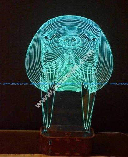 Walrus 3d illusion lamp
