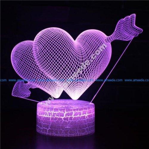Double hearts 3d illusion lamp