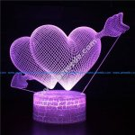 Double hearts 3d illusion lamp