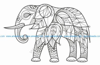 Adult Coloring Elephant Stock Vector Art