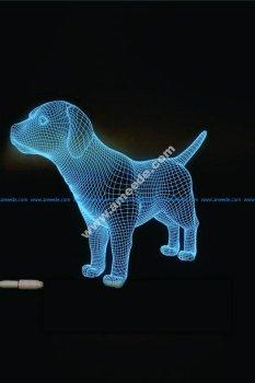 Dog 3D LED Night Light Free Vector