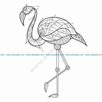 Flamingo vector bird with oriental ornament elements Turkish cucumber