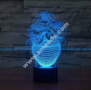 Rose in a vase 3D Illusion Lamp LED Night Lights
