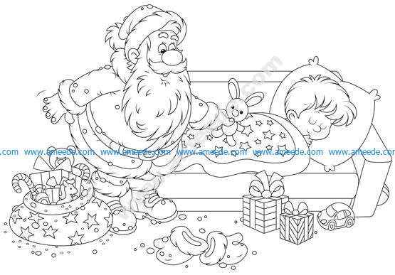 Santa Claus putting his gifts by the bed of a sleeping boy