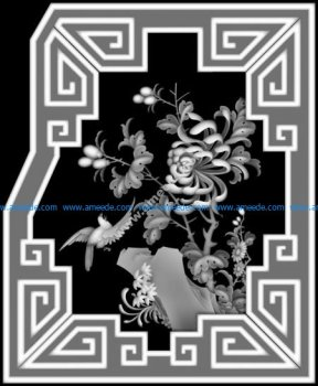 3d Grayscale Image Flowers and Birds BMP