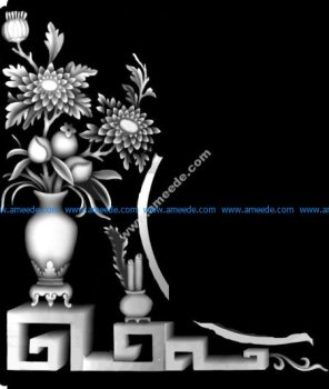 3d Grayscale Image Vase with Flowers BMP
