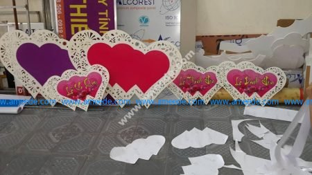 Cut Hearts Vu Quy Ceremony wedding decorations