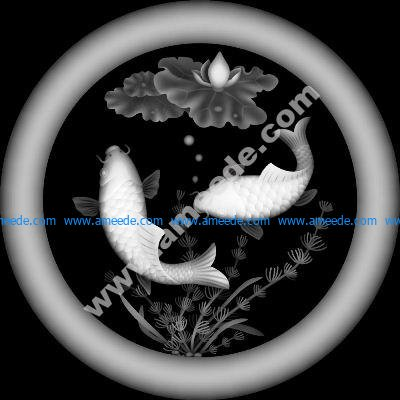 Fish 3D grayscale relief image BMP