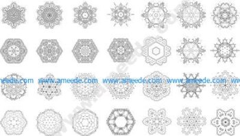 Mandalas Set Mehndi Design EPS