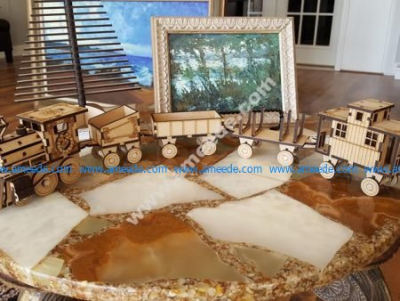 Model of trains made of wood