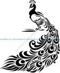 Peacock Decor Sticker Free Vector