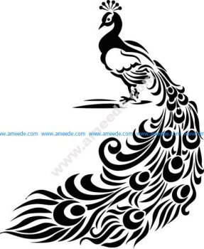 Peacock Decor Sticker Free Vector