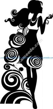 Silhouette Of Elegant Woman Free Vector