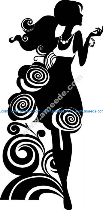 Silhouette Of Elegant Woman Free Vector