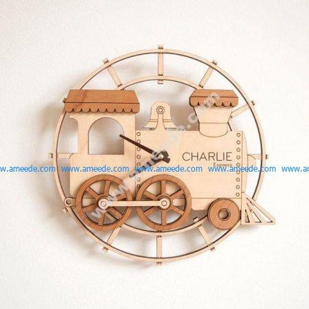 Train Shape Wall Clock Laser Cut Template