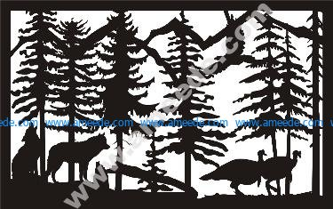 Two Wolves Turkeys Plasma Metal Art DXF File