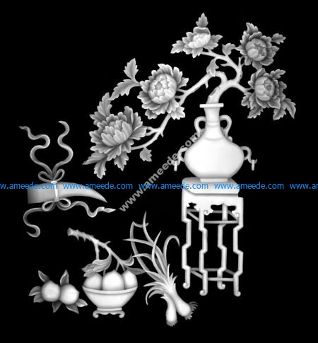 Vase with Flowers Fruit Grayscale Image BMP
