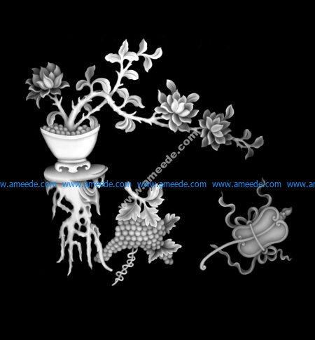 Vase with Flowers Grapes Grayscale Image BMP