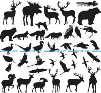 Animals Shapes Silhouettes Vectors
