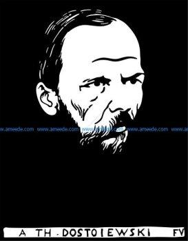 Vectorized woodcut of Fyodor Dostoyevsky