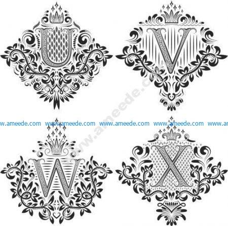 Beautiful Ornament Letters Vector Set