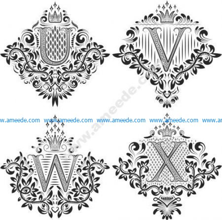 Beautiful Ornament Letters Vector Set