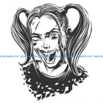 Detailed winking Harley Quinn