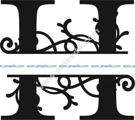 Flourished Split Monogram H Letter