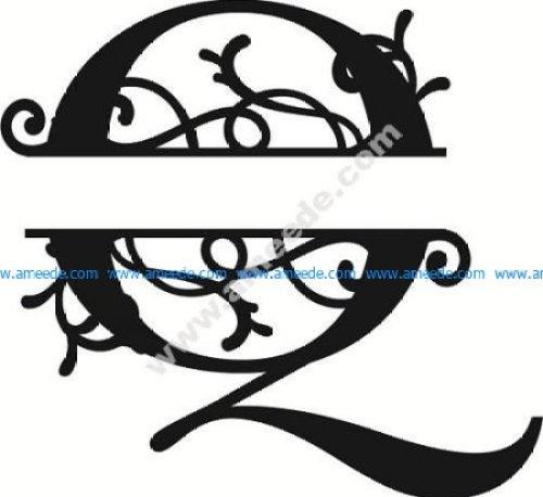 Flourished Split Monogram Q Letter