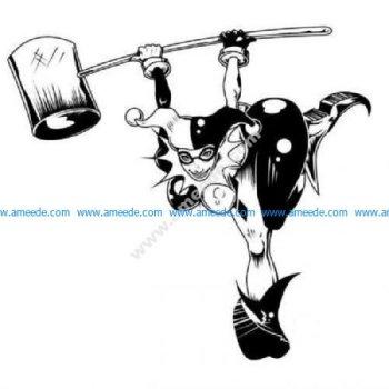 Harley Quinn bending with hammer