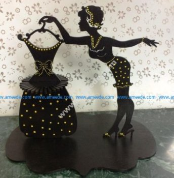 Laser Cut Napkin Holder Lady with Dress