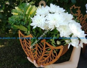 Laser Cut Wooden Decorative Flower Basket