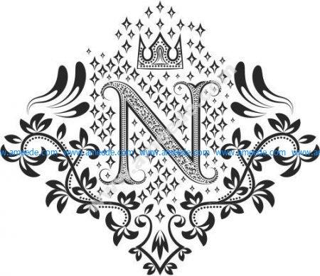 Monogram Ornament Letters N