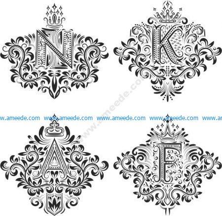 Ornamental Decor Floral Letter Set
