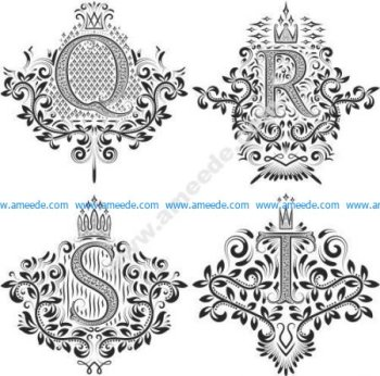 Ornamental Letters Vector Art Q R S T