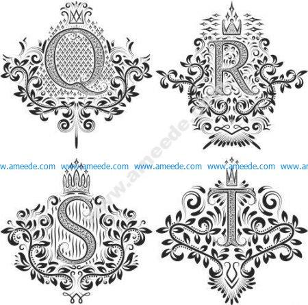 Ornamental Letters Vector Art Q R S T