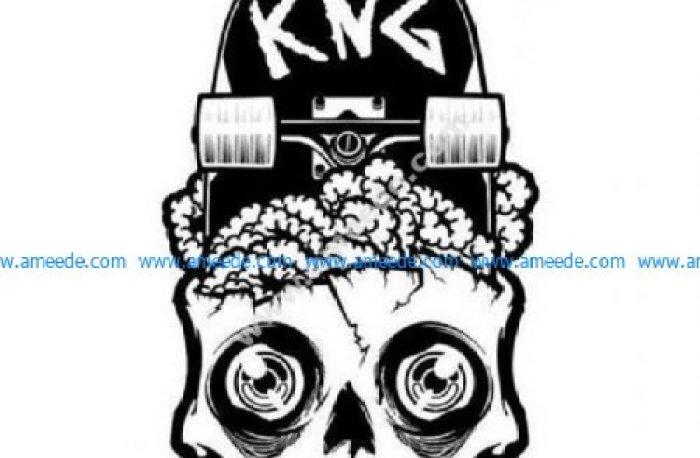Skateboard zombie brains skull