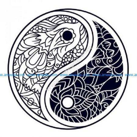 Ying yang peace zen tangle