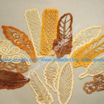 Laser Cut Wooden Bookmarks Feathers